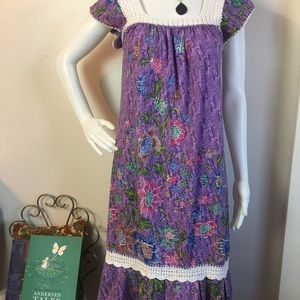 VTG Cotton and Crochet Purple Floral Boho Dress
